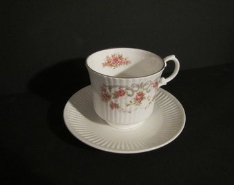 Pink Rosebud Ridged Teacup Custom-Scented Candle with White Ridged Saucer