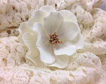 White and Gold Open Rose Sugar Flower