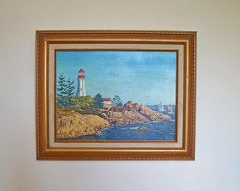 Vintage oil painting of lighthouse, seascape, ocean- landscape art with wood frame