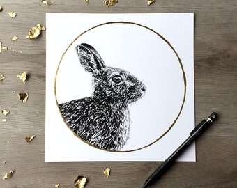Cottontail Rabbit Sprouting Grass moon April Print of Original Graphite Drawing with Gold Leaf Animal Portrait Rabbit Print Bunny Print