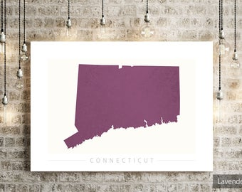 Connecticut Map - State Map of Connecticut - Art Print Watercolor Illustration Wall Art Home Decor Gift - COLOUR PRINTS
