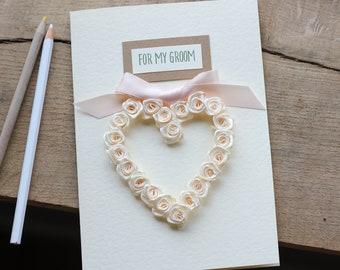 Husband Wedding Day Gift, To My Groom Card, Personalised Love Card Fiance, Cream and Light Peach Themed, Heart Keepsake