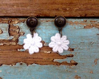 White lace Spring Flower Earrings