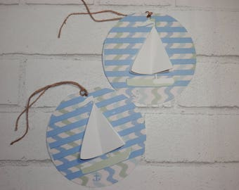 NAUTICAL GIFT TAGS, Set of 2 Sailboat Gift Tags, Beach Wedding Gift Tag, Birthday Gift Tags, Hanging Gift Tags,