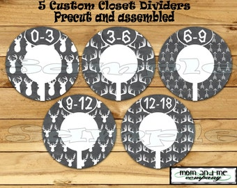 Custom closet dividers Clothes Dividers Size Dividers Rod Hangers Antler dividers infant Deer Baby Boy nursery Dividers Baby shiower gift