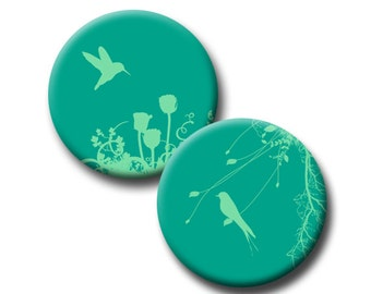 Green Silhouettes on Emerald - 1 inch circles - Digital collage sheet - instant download