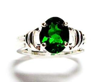 """Chrome diopside ring, chrome diopside, solitaire ring, engagement ring, green ring, green, s 6 1/2  """"Green means Go"""""""