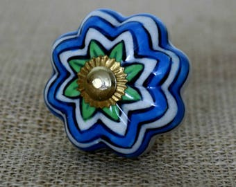 Blue Wave Ceramic Cabinet Knob