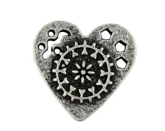 Metal Buttons - Mandala Heart Metal Buttons , Antique Silver Color , Shank , 0.95 inch , 3 pcs