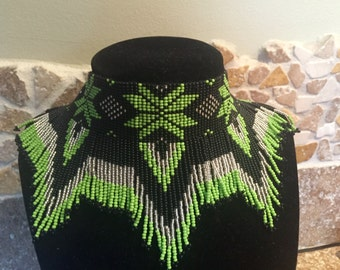 Green Choker Necklace Seed Bead Necklace Native American Necklace Style Statement Jewelry Beaded Necklace Indian Necklace Handmade Jewelry