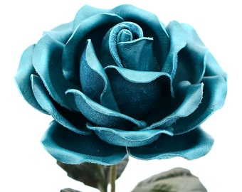 Leather Rose Teal Blue Leather Flower Personalized Third Anniversary 3rd Leather Anniversary Ninth Wedding Gift Long Stem Rose Sofia