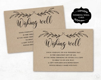 "Wishing Well Card Template, Printable Wishing Well Card, DIY Wishing Well Cards, Editable Text, 3.5""x5"", WW002, VW01"