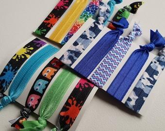Mixed unisex hair tie elastics / wrist bands - 3 sets of 5 - black, rainbow, blue mix - paint splatter, Pac man, blue camp, chevron, rainbow