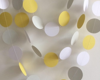 Grey, White and Yellow Circle Garland, Party Decorations, Baby Shower Garlands, Wedding Decorations