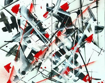 Abstract painting modern abstract diptych