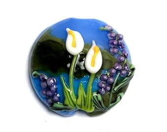 Calla Lily Lake Lentil Focal Bead - Handmade Glass Lampwork Bead 11836802