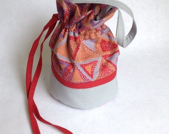 Sock Knitting Project Bag, small drawstring bag, red and gray Brandon Mably beaded tents,  organizer for knitting projects
