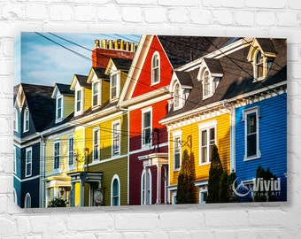 Jelly bean houses, historic architecture, St Johns Newfoundland, colorful canvas wall art, architectural picture, red yellow blue art print