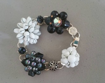 Earring Bracelet Made From Found Bits And Pieces ~ Vintage Jewelry ~ BLACK AND WHITE ~ Unique Gifts Wedding Brides Maid Gifts