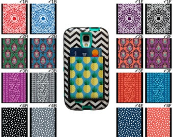 Phone Pocket / Sticky Wallet Student ID Case Business Card Holder / Mandala Cable Knit Paisley Polka Dots Design / Pattern Adhesive