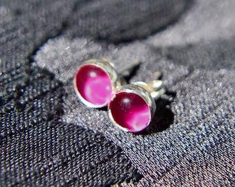 Ruby Earrings, Sterling Silver Post Style Earring with Ruby Cabochon Gem, Ruby Stud Earrings