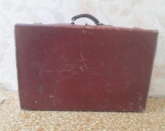 Old Leather Suitcase, Vintage Suitcase, Leather Luggage, Worn Out Leather Suitcase,Vintage decoration,Vintage home decor,Old Travel Case Bag