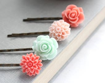 Floral Bobby Pins Flowers For Hair Accessories Coral Rose Hair Pins Girls Hair Clips Chrysanthemum Dahlia Stocking Stuffers Set of Four (4)