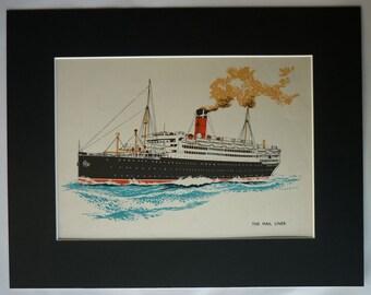 Vintage Nautical Decor, Vintage Art Print of a Mail Liner, Steam Ship Illustration Print, Maritime Decor, Black and Blue Ocean Art Retro Art