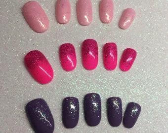 Baby Pink Purple Glitter Fade Press-On False Fake Toe Coffin Stiletto Round Square Nails