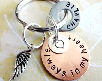 Memorial Keychain - Loss of Loved One - Personalized Hand Stamped Key Chain - Copper and Silver Discs, Hardware Washer & Angel Wing Charm