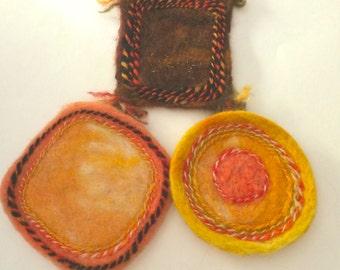 Coasters, Needle Felted, Autumn Colors, Set of Three