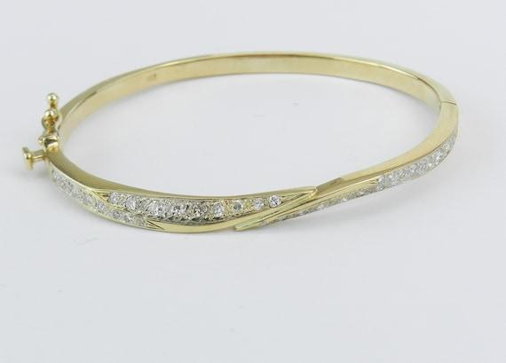 14K Yellow Gold Diamond Bangle Bracelet Great Gift