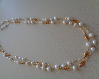 Pearl necklace in cream, combined with Citrine crystal, double row, 585 gold filled