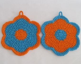 Crochet Washcloths Orange Blue Flower Cotton Vintage Inspired