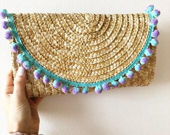 straw pom pom clutch; purple and turquoise's straw pom pom clutch; trendy clutch