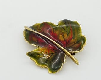 Vintage Enameled Gold, Red, Green & Yellow Fall Leaf Brooch