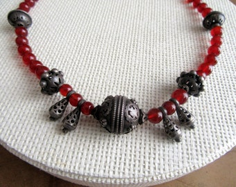 Awesome Carnelian and Silver necklace from India.