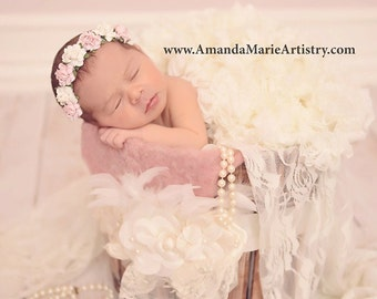 Pink and Ivory Newborn Flower Crown - Baby Flower Crown - Newborn Flower Crown Headband - Pale Pink and Ivory Flower Girl Headband