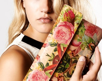 Leather Clutch Bag, Wedding clutch, Leather purse, Bridesmaid clutch, Evening Bag / Party Bag / Wedding Bag - Decoupage Roses