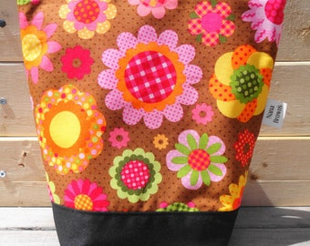 Insulated Lunch Bag, Lunch Tote - Brown Floral