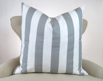 Gray Stripe Pillow Cover -MANY SIZES- Euro Sham, Decorative Throw Pillow, Cushion Cover, Canopy Storm white by Premier Prints, FREESHIP