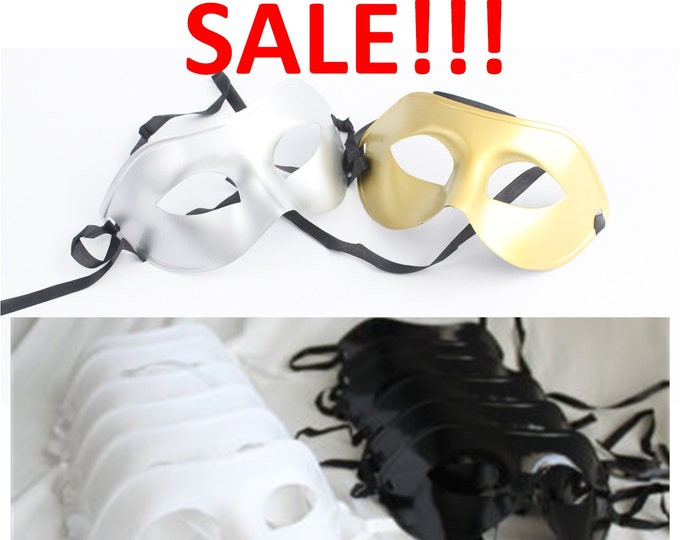 Featured listing image: Phantom of the Opera Masks, Masquerade Party Pack Black White Gold Silver, Mardi Gras, New Year's, Venetian, Costume, overthetopcaketopper