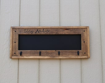 Stay Awhile Chalkboard, Coat Rack, Hat Rack, Key Holder,  House warming Gift, Gift, Rustic Home Decor, Chalkboard, Hand Carved,