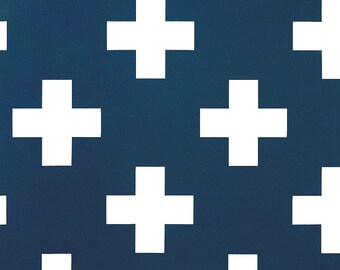 Premier Navy Swiss Cross Curtains. Pair of 2 Drapery Panels. Large Plus Sign. Bedroom Window Treatments.