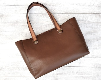 Leather Shoulder Tote Bag With Magnetic Claps Closure A4