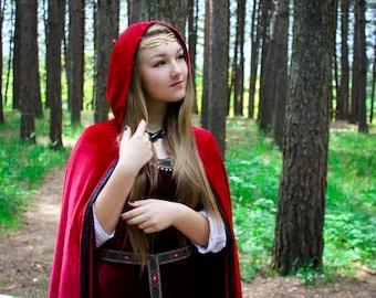 Ready to ship! Red velvet cloak; velvet cloak; red riding hood