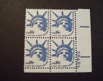 US Plate Block Scott #1599 16c Statue of Liberty [4] MNH [LR]