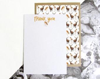 Deer Pattern Thank You Postcards