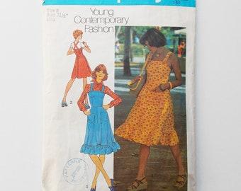 Vintage dress or jumper sewing pattern, Simplicity 6926, boho, size 8 sun dress pattern, 1975 pattern, sewing supplies, jumper size 8.