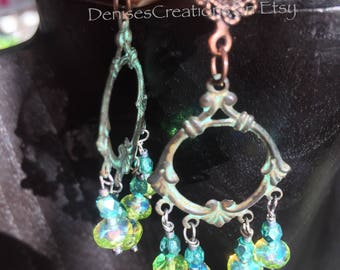 Patina Filigree Earrings with Ocean, Teal, Blue and Green Czech Glass by Denise Sloan